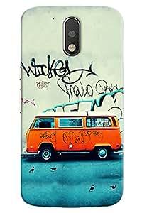 Omnam Stylish Orange Car With Paint On It Printed Designer Back Cover Case For Motorola Moto G4