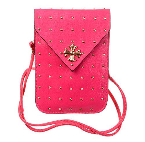 Kiss Gold Punk Style Rivet Mini Cellphone Shoulder Bag Pouch (Red)