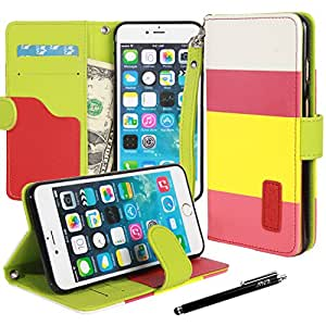 iphone 6s plus/ 6 Plus case, Apple iphone 6s plus/ 6 Plus Flip Case, E LV iphone 6s plus/ 6 Plus Case Cover - Deluxe PU Leather Flip Wallet Case Cover for iphone 6s plus/ 6 Plus 5.5 inch - HOT PINK / YELLOW / PINK