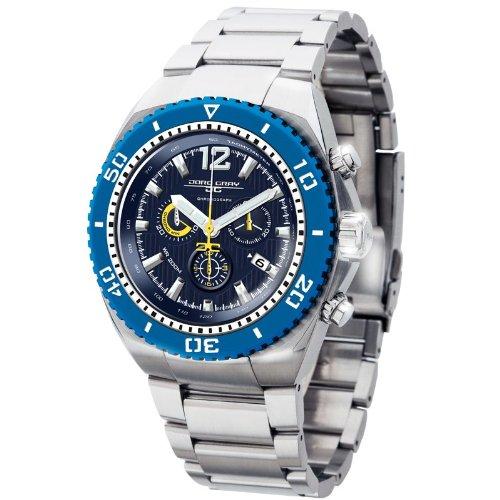 Jorg Gray JG9700-24 - Reloj cronógrafo de cuarzo para hombre con correa de acero inoxidable, color plateado
