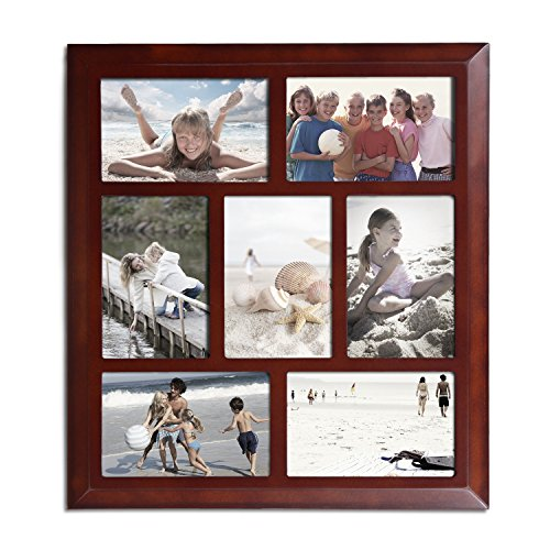 Adeco Decorative Walnut-Color Wood Wall Hanging Collage Picture Photo Frame, 7 Openings Vertical and Horizontal, 4x6 50pcs lot wire hanger fastener hanging photo picture frame quick easy clutch release nickel plate movable head ceiling