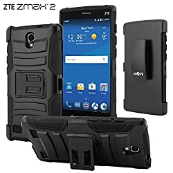 ZTE Zmax 2 Case, CellJoy [Ultra Rugged Hybrid] {Black} ZTE Z958 2015 Release Model Dual Layer **ShockProof** Reinforced Bumper Protection Cover **Kickstand** [Locking Swivel Belt Clip Holster Combo]