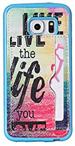 S6 Edge Case AIYZE Pink TPU Back Protective Cell Phone Cases For Samsung Galaxy S6 Edge SM-G925F + Stand + Credit Card Slots Holder Premium PU Leather Multi-functional (Sea Life)