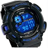 Fanmis S-Shock Multi Function Digital LED Quartz Watch Water Resistant Electronic Sport Watches Blue