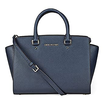 Michael Kors Selma Navy Saffiano Leather Satchel