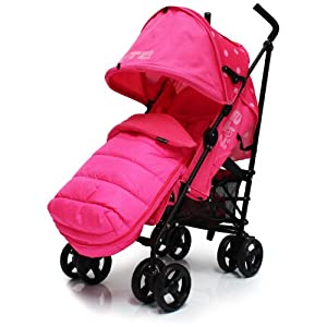 Zeta Vooom Raspberry (Dots) Pink Complete With Footmuff And Rainocver Complete Pushchair Buggy From Birth by BABY TRAVEL