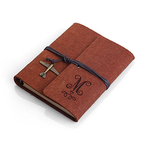 NTLux Personalized Hand-Finished Earth Brown Felt Journal with Charm and Twine Binder - Perfect Gift for Writers, Poets, Lyricists, Artists, Journalists, Diarists, Girls, Women