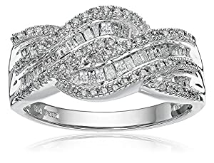 10k White Gold Diamond Twist Ring (1/2 cttw, J-K Color, I3 Clairty), Size 5
