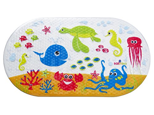 Salinka Ocean Anti Slip Baby Bath Mat - Phatalates and Lead FREE - Non Slip Mat for Bathtub and Shower - Durable Mildew Mold Resistant PVC - Handy Bag for Easy Transport - Free Ebook (Safety Tub Mat compare prices)