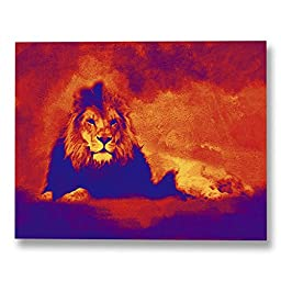 Neron Art - Hand painted Africa Oil Painting on Gallery Wrapped Canvas - Savannah King 48X38 inch