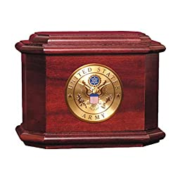 Wood Cremation Urn - Rosewood Diplomat Military (Army)