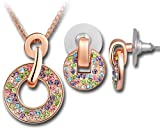 Swarovski Beautiful Jewelry Sets! Hot Sale, Best Deal. 18K Rose Gold Plated Alloy Earrings & Necklace with Swarovski Elements Multicolored Crystal Women's Fashion Party Jewelry Set. T000097