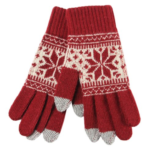 Warmen Women's Touch Screen Wool Winter Gloves Mittens for Ipad Iphone Smart Phone (Red)