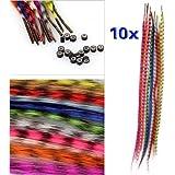 SODIAL(R) Ensemble 10 Couleurs Plume Synthetique grisatre Extensions de cheveux + perles