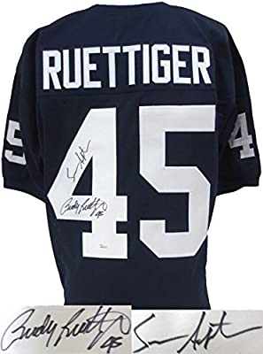 Rudy Ruettiger & Sean Astin Dual-Signed Blue Custom Football Jersey JSA/SI