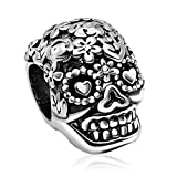 JMQJewelry Skull Christmas Flower Charm Dia De Los Muertos Beads For Bracelets