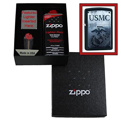 """Marines"" Usmc And Logo Over Distressed Background Zippo Lighter Gift Set"