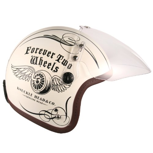 (F4 Jet-include Shield) Motorcycle Scooter Open Face 3/4 Three Quarter Jet Helmet Vintage Retro Style Helmets (White (Two Wheel Decal)) 1