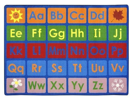 "Joy Carpets Kid Essentials Early Childhood Any Day Alphabet Rug, Multicolored, 5'4"" x 7'8"""