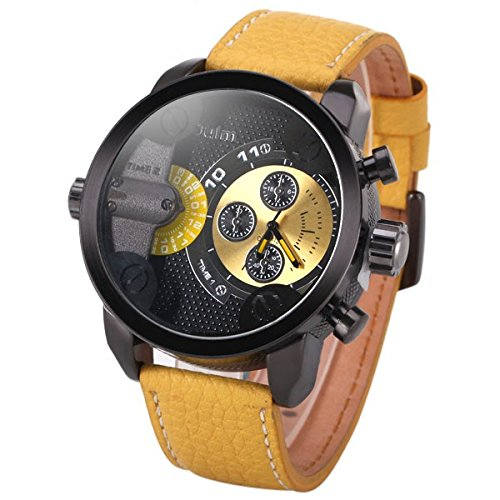 3130 Yellow Art Gothic Style Rolling Time Quartz Movement Wrist Watches Embossed Leather Strap Graduation Gift