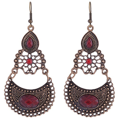 Red Ganapathy Gems Brass Dangle & Drop Earrings For Women (Red) (Multicolor)