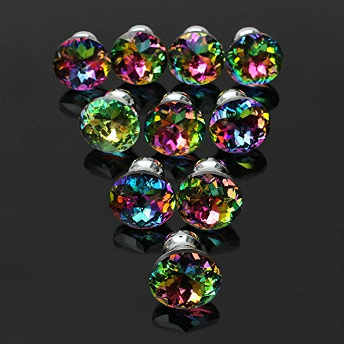 CSKB 10PCS Colorful Crystal Glass Diamond Cut Door Knob for Wardrobe,Cabinet, Drawer, Chest, Bin, Dresser, Cupboard, Etc with Screw Set Home Decoration (Dressers With Glass Doors compare prices)