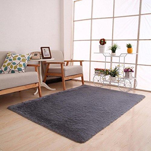 "Fluffy Rugs Anti-Skid Shaggy Area Rug Dining Room Home Bedroom Carpet Floor Mat (31'5"" x 47'3"", Gray)"