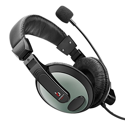 Etekcity RoverBeats Bravo Professional Over Ear Stereo Headset with Microphone, Headset Splitter, Black/Gray