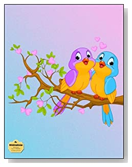 Lovebirds And Hearts Notebook - Two cute lovebirds in a tree provide a teal and purple color scheme for the cover of this wide ruled notebook.