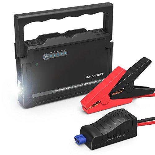 RAVPower-Avviatore-per-Auto-600A-Jump-Starter-Caricabatterie-18000mAh-Output-per-Accendisigari-Doppia-Porta-USB-iSmart-20-Torcia-LED-di-Emergenza-per-tutti-i-Motori-Diesel-o-a-Benzina-da-3L-o-6L