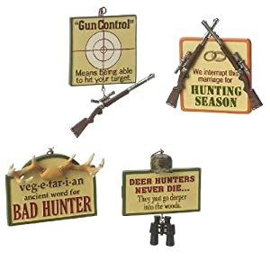 Amazon.com - Midwest Funny Signs Hunting Christmas Ornaments Set of 4
