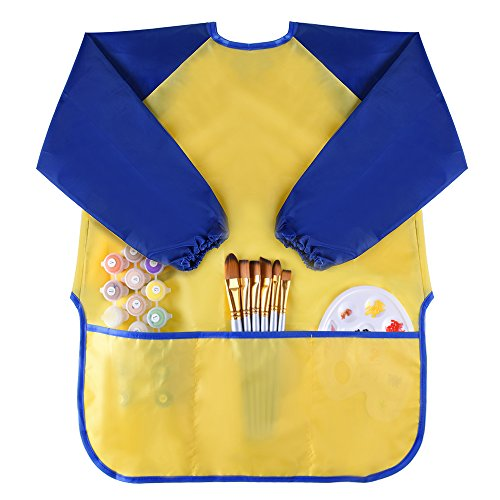 Kuuqa Waterproof Kids Painting Aprons Children Art Smock With 3 Roomy Pockets, Painting Supplies( Paints and brushes not included)