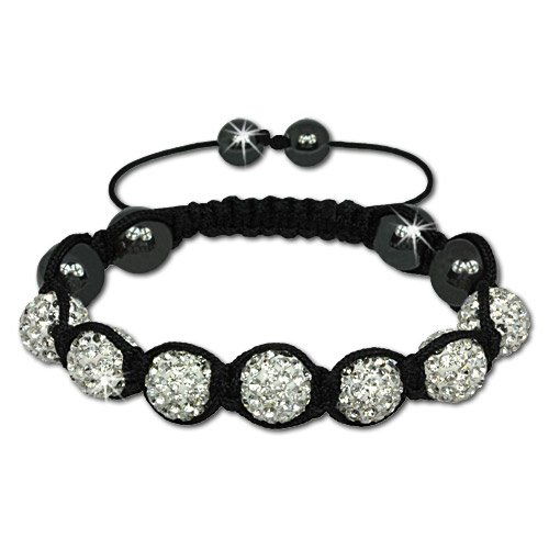 SilberDream Crystal White Bead Shamballa Bracelet unisex with 12mm white Zirkonia iced out Disco ball beads and 6 Hematite beads SDA923