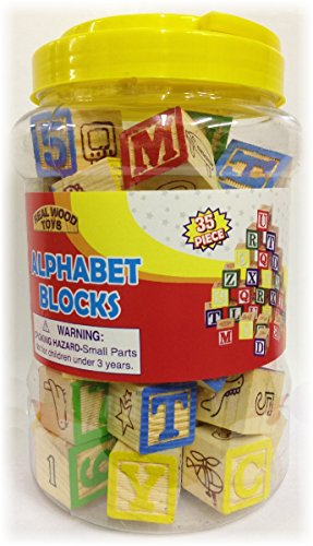 35 Piece ABC Stack N' Build Wood Blocks in a Bucket Set