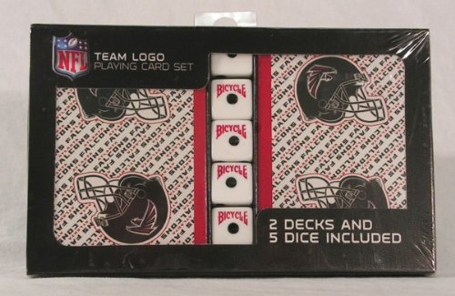 NFL Officially Licensed Atlanta Falcons 2 Packs of Playing Cards with Dice