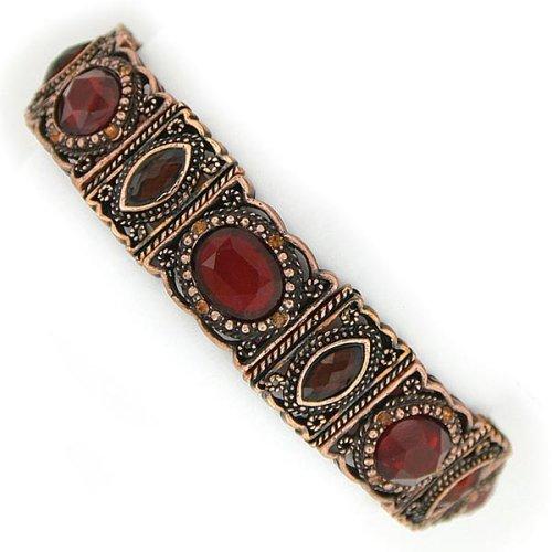 Art Deco Style Russet Hues Stretch Bracelet