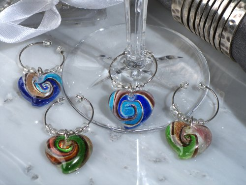 Murano Art Deco Collection Heart Design Wine Charms (Set of 4)