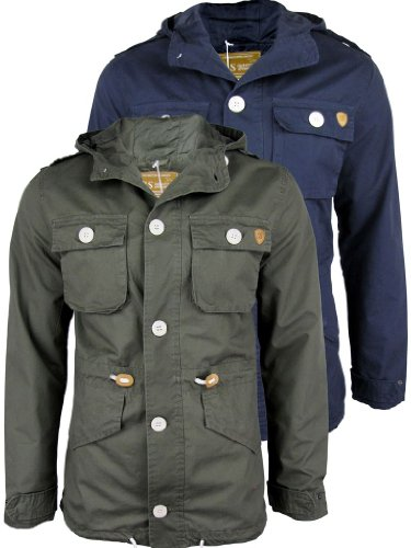 Brave Soul Mens Hoodie Classic Harrington Jacket Coat 'Puzzle' - Olive [X-Large]