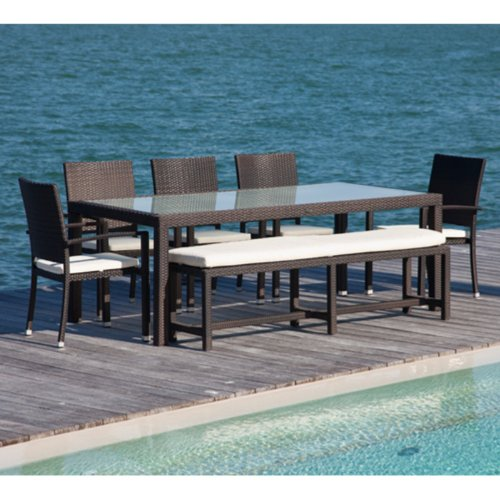 Source Outdoor Zen All-Weather Wicker Patio Dining Set with Bench ...
