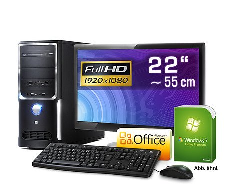 PC - CSL Sprint Vision H8830 - Multimedia QuadCore! PC-System mit AMD FX-Series FX-4100 4x 3600 MHz, 500GB SATA, 8192MB DDR3, Radeon HD 3000, DVD-RW, CardReader, 7.1 Sound, GigLAN, 54,7 cm (22