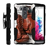 LG V10 Case | LG G4 Pro Case [Hyper Shock] Resistant Hybrid Case with Belt Clip Hard Impact Combo Shell Stand Rubber Sports and Games Design by TurtleArmor - Boxing Gloves