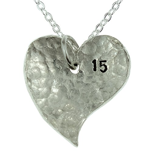 15th Year Anniversary Heart Necklace - Great 15th Anniversary Gift for Your Wife