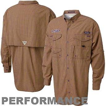 NCAA Columbia LSU Tigers Gingham Super Bonehead Long Sleeve Button-Down Shirt - Gold... by Columbia
