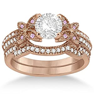 Butterfly Double Row Micro Pave Diamond Engagement Ring with Band Setting 14K Rose Gold(0.39ct)