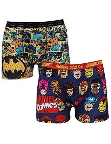 (Pack of 2) Mens MARVEL COMICS (IRONMAN) & BATMAN Finest Boxer Shorts XL Multicolor