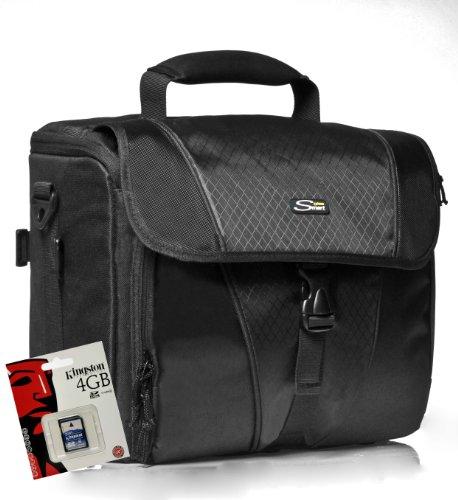 Foto-Tasche universal Kameratasche für die große Ausrüstung Typ Smart Back Medium Set mit 4 GB SD Karte für Canon EOS 600D 70D 1200D 1100D Nikon D7100 D7000 D5300 D5200 D3300 D3200 D610 D600 Sony Alpha 7 3000 A58 A57 A37 Nex 6000 5000 und viele andere (siehe Beschreibung)