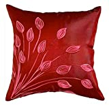 "That's Perfect! Lotus Leaves 18""x18"" Decorative Silk Throw Pillow Sham - COVER (Deep Red)"
