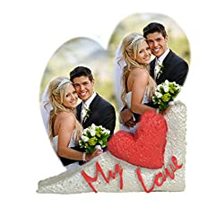 Personalized Heart Shape My Love Theme Stone, Customize with Your Own Photos