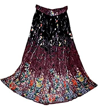 FOI Rayon Wrinkle Hippy Skirt Indian Kjol Jupe Rock Gypsy