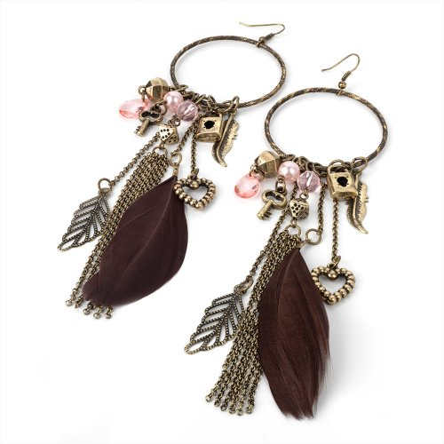 Long Burn Gold Tone Hoop Feather Chains and Charms Fashion Earrings